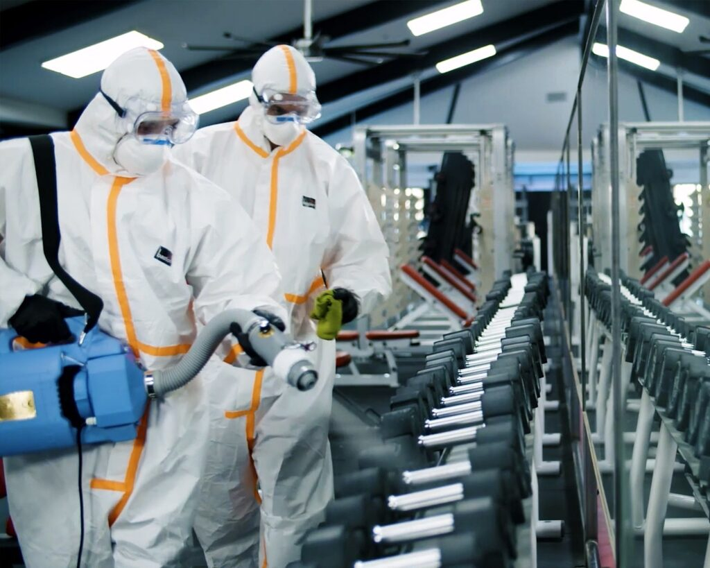 disinfecting services of gym equipment