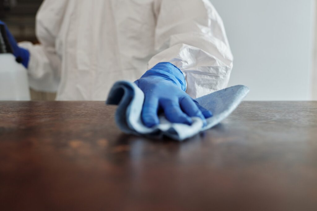 industrial cleaner disinfecting surface